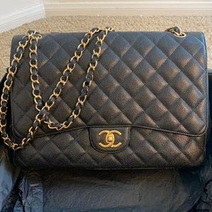 Authentic Chanel Caviar Quilted Maxi Double Flap